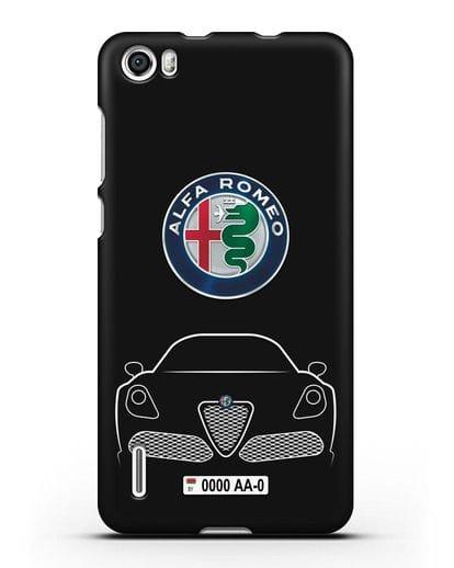 Чехол Alfa Romeo с автомобильным номером силикон черный для Honor 6