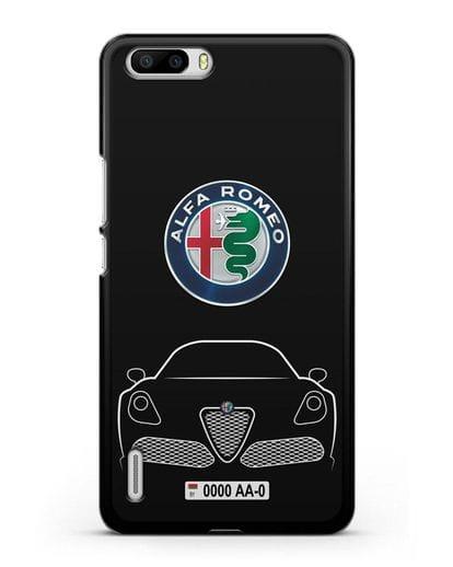Чехол Alfa Romeo с автомобильным номером силикон черный для Honor 6 Plus