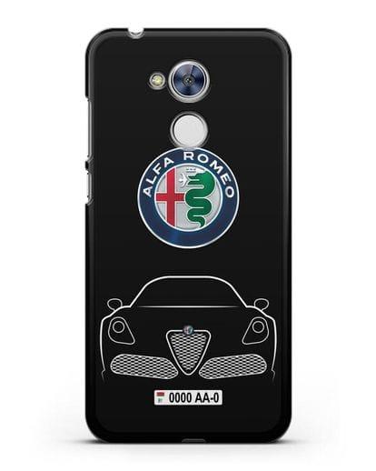 Чехол Alfa Romeo с автомобильным номером силикон черный для Honor 6A