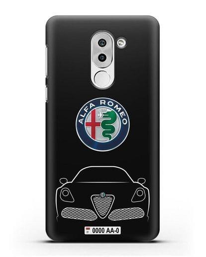 Чехол Alfa Romeo с автомобильным номером силикон черный для Honor 6X
