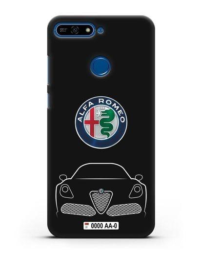 Чехол Alfa Romeo с автомобильным номером силикон черный для Honor 7А Pro