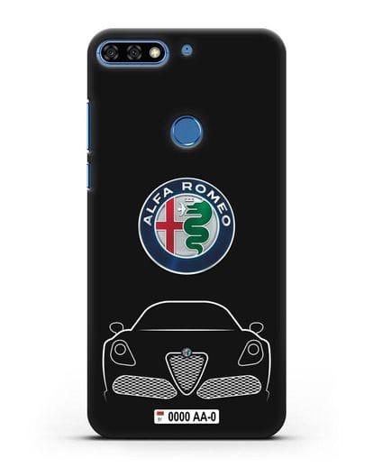 Чехол Alfa Romeo с автомобильным номером силикон черный для Honor 7C Pro