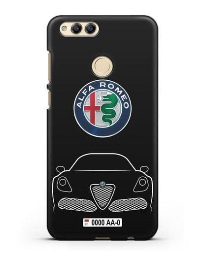 Чехол Alfa Romeo с автомобильным номером силикон черный для Honor 7X