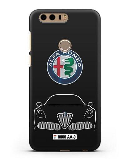 Чехол Alfa Romeo с автомобильным номером силикон черный для Honor 8