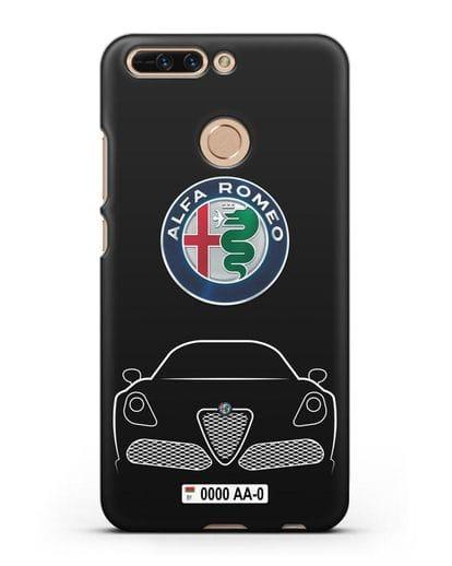 Чехол Alfa Romeo с автомобильным номером силикон черный для Honor 8 Pro