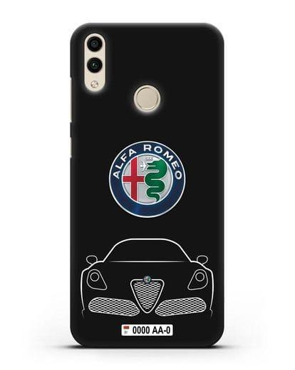 Чехол Alfa Romeo с автомобильным номером силикон черный для Honor 8C