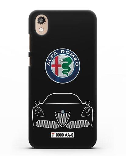 Чехол Alfa Romeo с автомобильным номером силикон черный для Honor 8S