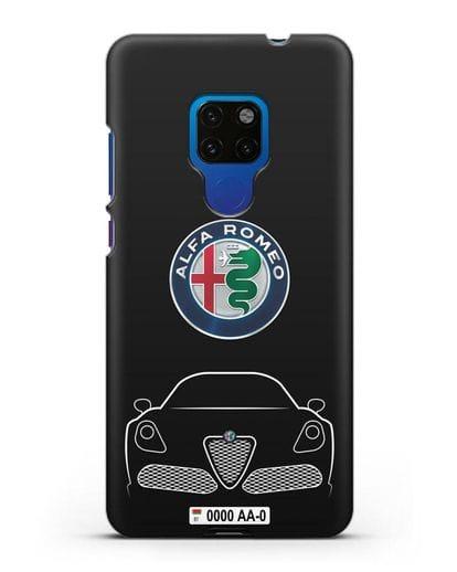 Чехол Alfa Romeo с автомобильным номером силикон черный для Huawei Mate 20