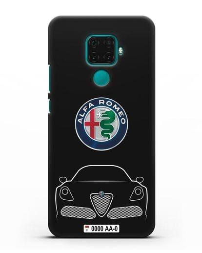 Чехол Alfa Romeo с автомобильным номером силикон черный для Huawei Mate 30 Lite