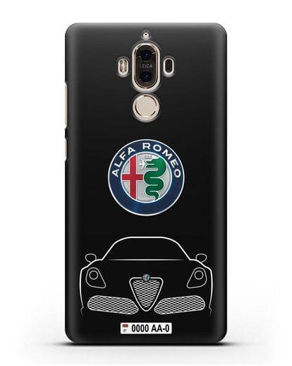 Чехол Alfa Romeo с автомобильным номером силикон черный для Huawei Mate 9