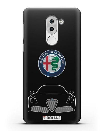 Чехол Alfa Romeo с автомобильным номером силикон черный для Huawei Mate 9 Lite