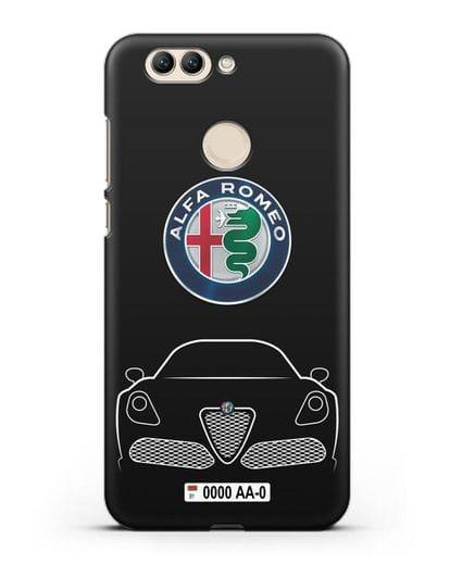 Чехол Alfa Romeo с автомобильным номером силикон черный для Huawei Nova 2 Plus