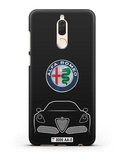 Чехол Alfa Romeo с автомобильным номером силикон черный для Huawei Nova 2