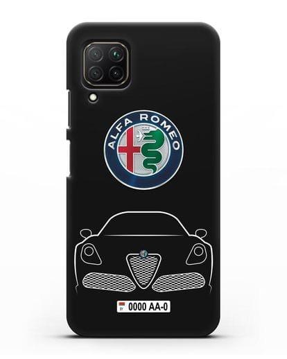 Чехол Alfa Romeo с автомобильным номером силикон черный для Huawei Nova 7i