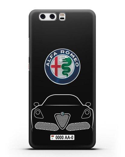 Чехол Alfa Romeo с автомобильным номером силикон черный для Huawei P10
