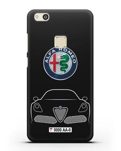 Чехол Alfa Romeo с автомобильным номером силикон черный для Huawei P10 Lite