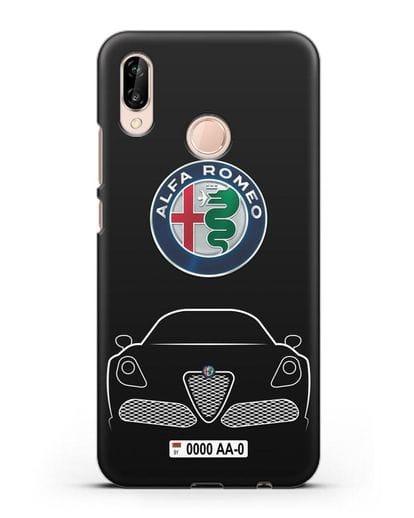 Чехол Alfa Romeo с автомобильным номером силикон черный для Huawei P20 Lite