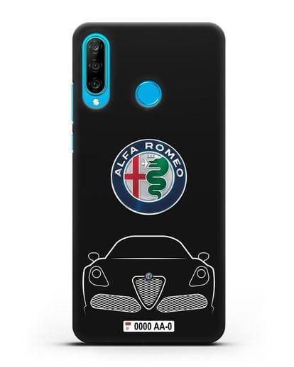 Чехол Alfa Romeo с автомобильным номером силикон черный для Huawei P30 Lite