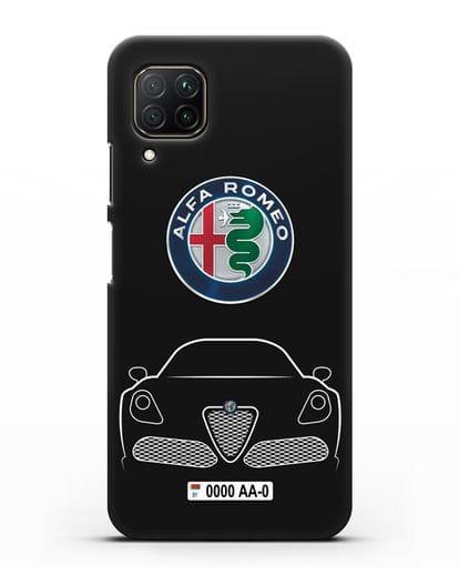 Чехол Alfa Romeo с автомобильным номером силикон черный для Huawei P40 lite