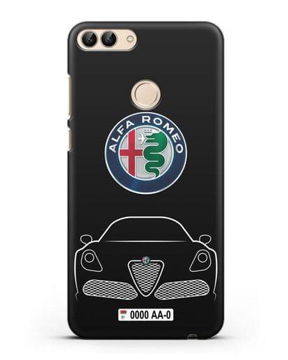 Чехол Alfa Romeo с автомобильным номером силикон черный для Huawei P Smart