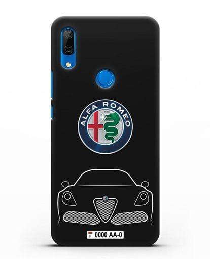 Чехол Alfa Romeo с автомобильным номером силикон черный для Huawei P Smart Z