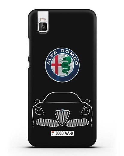 Чехол Alfa Romeo с автомобильным номером силикон черный для Huawei Shot X