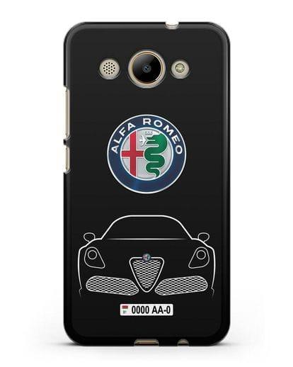 Чехол Alfa Romeo с автомобильным номером силикон черный для Huawei Y3 2017