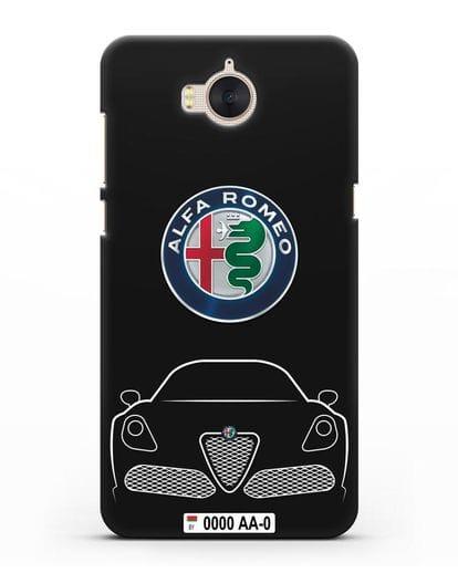 Чехол Alfa Romeo с автомобильным номером силикон черный для Huawei Y5 2017