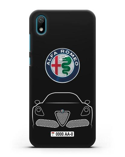 Чехол Alfa Romeo с автомобильным номером силикон черный для Huawei Y5 2019