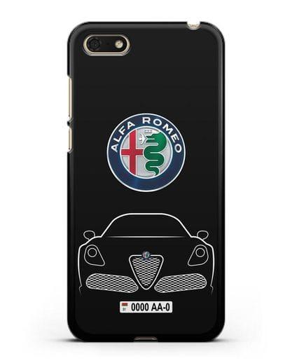 Чехол Alfa Romeo с автомобильным номером силикон черный для Huawei Y5 Prime 2018