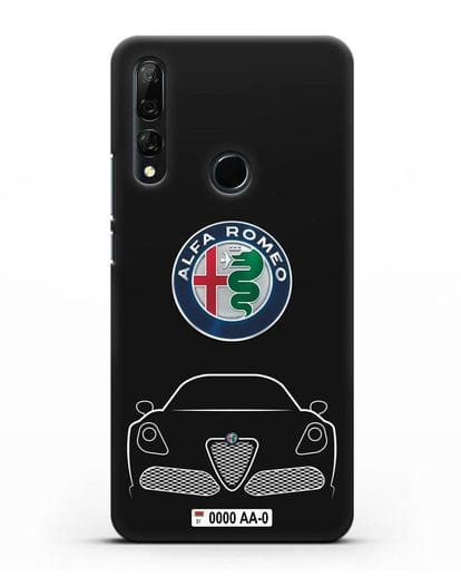 Чехол Alfa Romeo с автомобильным номером силикон черный для Huawei Y9 Prime 2019