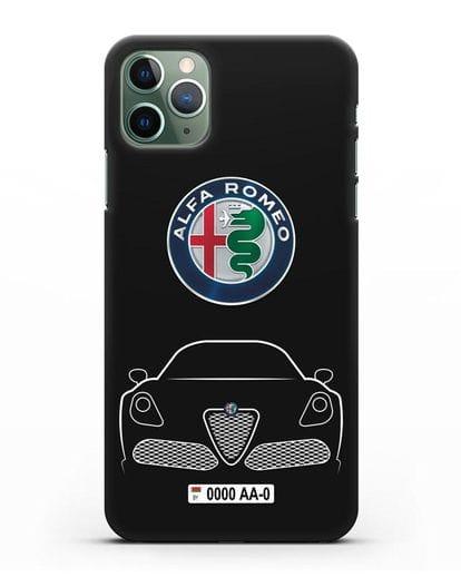 Чехол Alfa Romeo с автомобильным номером силикон черный для iPhone 11 Pro Max