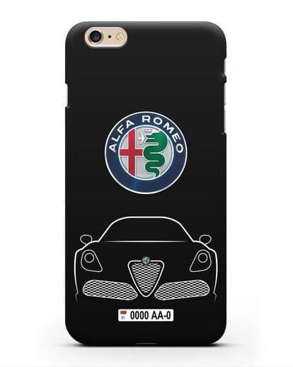 Чехол Alfa Romeo с автомобильным номером силикон черный для iPhone 6 Plus
