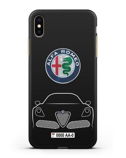 Чехол Alfa Romeo с автомобильным номером силикон черный для iPhone XS Max