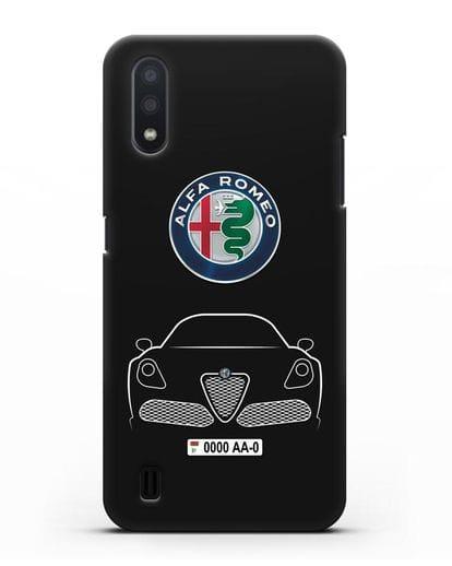 Чехол Alfa Romeo с автомобильным номером силикон черный для Samsung Galaxy A01 [SM-A015F]