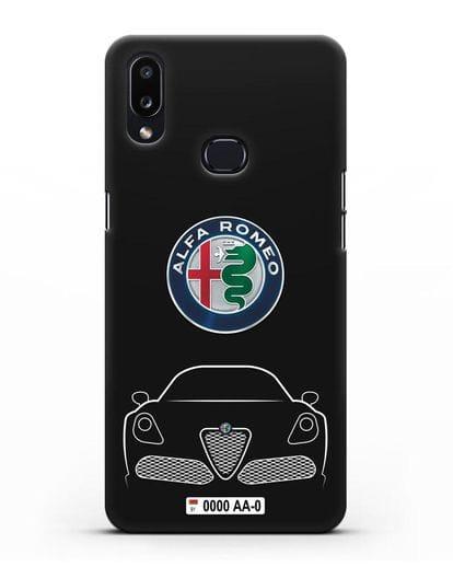 Чехол Alfa Romeo с автомобильным номером силикон черный для Samsung Galaxy A10s [SM-F107F]