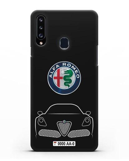 Чехол Alfa Romeo с автомобильным номером силикон черный для Samsung Galaxy A20s [SM-A207FN]