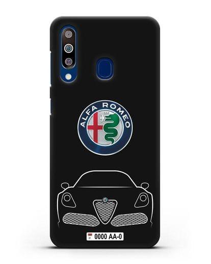 Чехол Alfa Romeo с автомобильным номером силикон черный для Samsung Galaxy A60 [SM-A606F]
