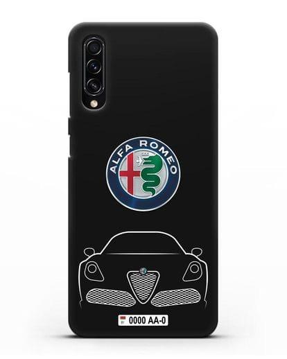 Чехол Alfa Romeo с автомобильным номером силикон черный для Samsung Galaxy A70s [SM-A707F]