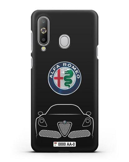 Чехол Alfa Romeo с автомобильным номером силикон черный для Samsung Galaxy A8s [SM-G8870]