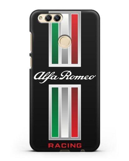Чехол с логотипом Альфа Ромео силикон черный для Honor 7X