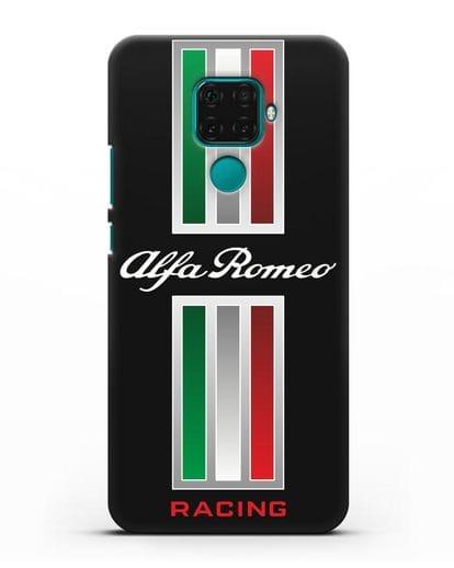 Чехол с логотипом Альфа Ромео силикон черный для Huawei Mate 30 Lite