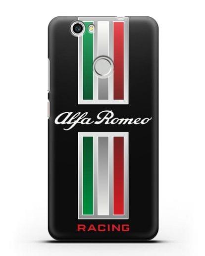 Чехол с логотипом Альфа Ромео силикон черный для Huawei Nova