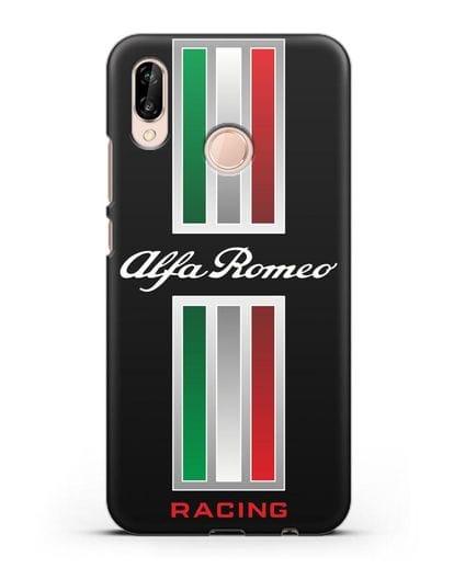 Чехол с логотипом Альфа Ромео силикон черный для Huawei P20 Lite