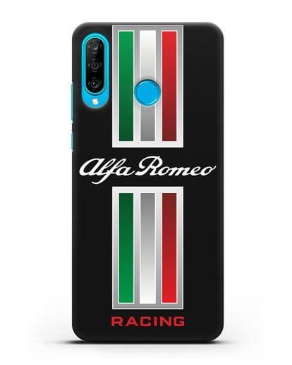 Чехол с логотипом Альфа Ромео силикон черный для Huawei P30 Lite