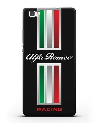 Чехол с логотипом Альфа Ромео силикон черный для Huawei P8 Lite