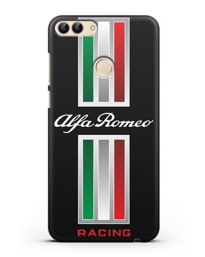Чехол с логотипом Альфа Ромео силикон черный для Huawei P Smart