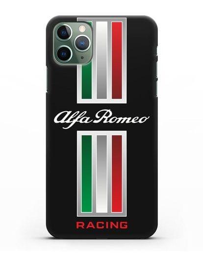 Чехол с логотипом Альфа Ромео силикон черный для iPhone 11 Pro
