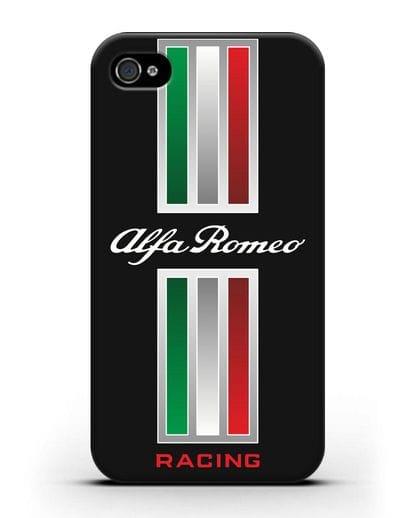 Чехол с логотипом Альфа Ромео силикон черный для iPhone 4/4s