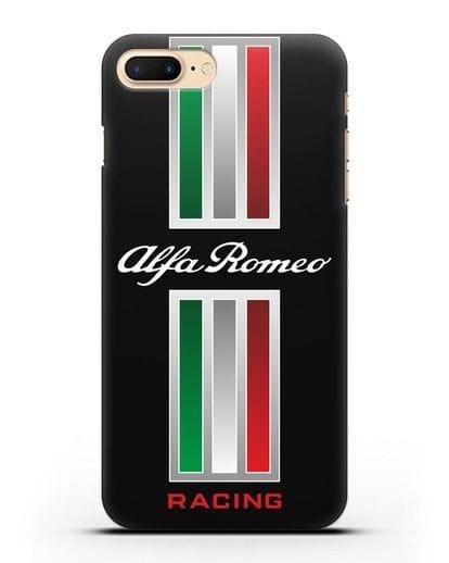 Чехол с логотипом Альфа Ромео силикон черный для iPhone 8 Plus